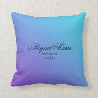 Teal Purple Bat Mitzvah Personalized Throw Pillow