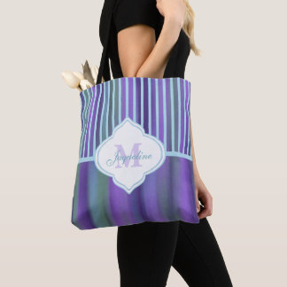 Teal Purple Blue Green Monogram Stripe Tote Bag