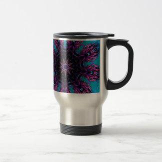 Teal Purple Blue Kaleidescape Floral Pattern Travel Mug