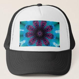 Teal Purple Blue Kaleidescape Floral Pattern Trucker Hat