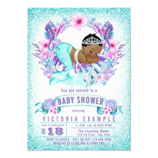 Teal Purple Ethnic Mermaid Baby Shower Invitation