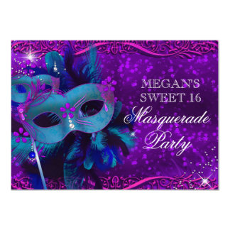 """Teal & Purple Feather Mask Masquerade Sweet 16 4.5"""" X 6.25"""" Invitation Card"""