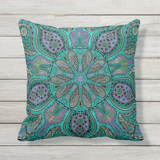 Teal Purple Green Mandala Outdoor Pillow