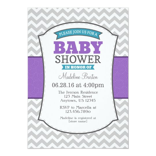 Teal Purple Grey Chevron Baby Shower Invitation