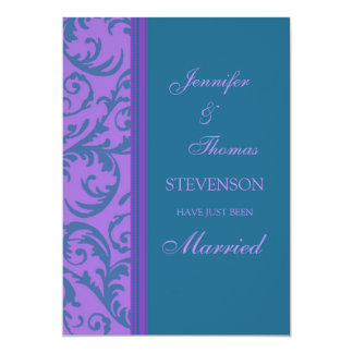Teal Purple Just Married Announcement Cards