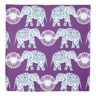 Teal & Purple Mandala Lotus Indian Elephants Duvet Cover