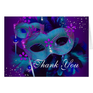 Teal & Purple Masks Masquerade Thank You Card