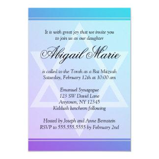 """Teal Purple Star of David Bat Mitzvah 5"""" X 7"""" Invitation Card"""