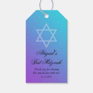 Teal Purple Star of David Bat Mitzvah Gift Tags