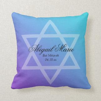 Teal Purple Star of David Bat Mitzvah Personalized Throw Pillow