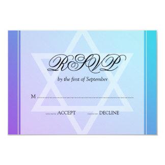 """Teal Purple Star of David Bat Mitzvah RSVP 3.5"""" X 5"""" Invitation Card"""