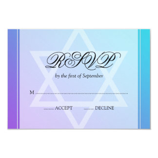 Teal Purple Star of David Bat Mitzvah RSVP Card