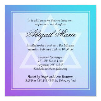"Teal Purple Star of David Bat Mitzvah Square 5.25"" Square Invitation Card"