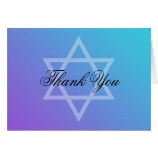 Teal Purple Star of David Bat Mitzvah Thank You Card