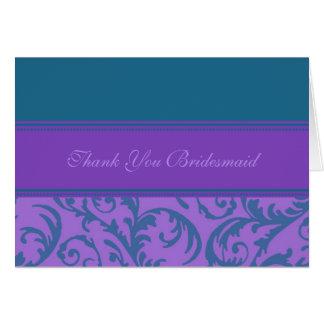 Teal Purple Swirls Thank You Bridesmaid Card