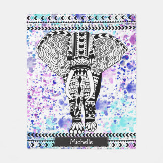 Teal & Purple Watercolor Tribal Patterned Elephant Fleece Blanket
