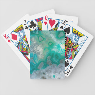 Teal Quartz Geode Bicycle Playing Cards