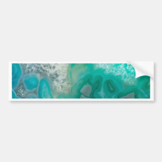 Teal Quartz Geode Bumper Sticker