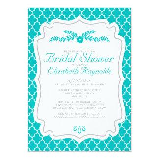 Teal Quatrefoil Bridal Shower Invitations