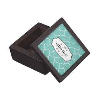Teal quatrefoil clover leaf pattern personalized premium gift box