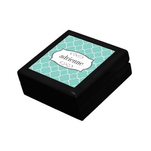 Teal quatrefoil clover leaf pattern personalized trinket box