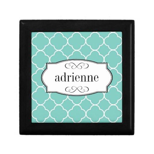 Teal quatrefoil clover leaf pattern personalized trinket box