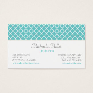 Teal Quatrefoil Pattern Business Card