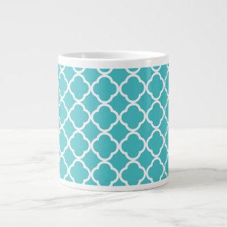 Teal Quatrefoil Pattern Large Coffee Mug