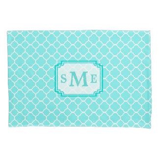 Teal Quatrefoil Pattern Monogram Pillowcase