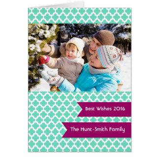 Teal Quatrefoil Photo Folded Holiday Card