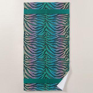 Teal Rainbow Exotic Zebra Stripe Animal Print Beach Towel