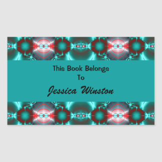 Teal Red Colorful Bookplates