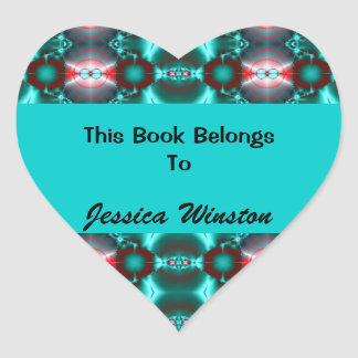 Teal Red Colorful Bookplates Heart Sticker