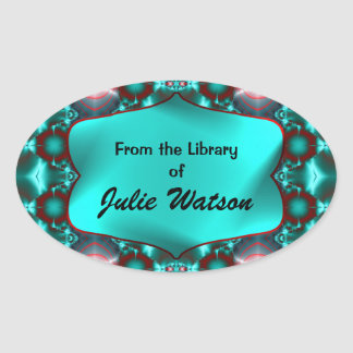 Teal Red Colorful Bookplates Oval Sticker