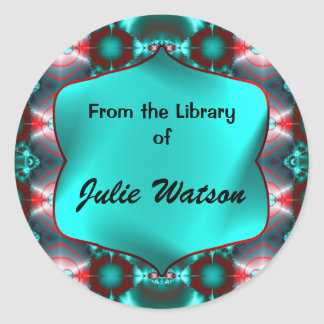Teal Red Colorful Bookplates Round Sticker