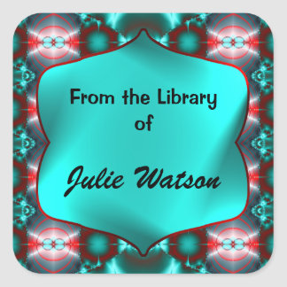 Teal Red Colorful Bookplates Square Sticker