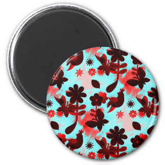 Teal Red Flowers Birds Butterflies Faded Grunge 2 Inch Round Magnet