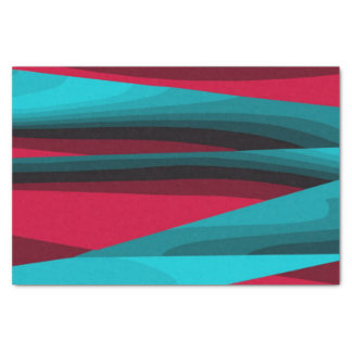 Teal-Red Pattern Tissue Paper