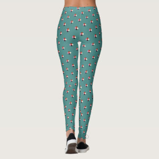 Teal Red Pink Eggplant Ivory Green Pattern Leggings
