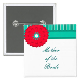 Teal & Red Wedding Buttons