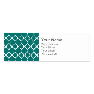Teal Retro Geometric Ikat Tribal Print Pattern Business Card Templates