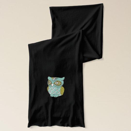 Teal Retro Hooty Owls Scarf Wrap