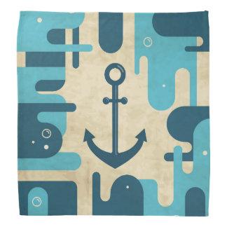 Teal Retro Nautical Anchor Design Bandana