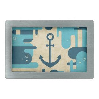 Teal Retro Nautical Anchor Design Belt Buckles