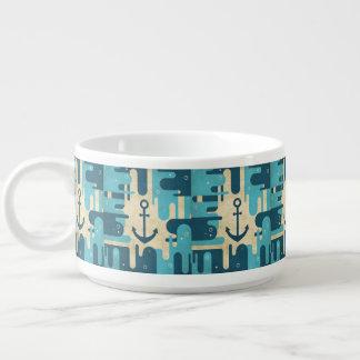Teal Retro Nautical Anchor Design Bowl