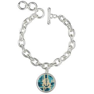 Teal Retro Nautical Anchor Design Bracelets
