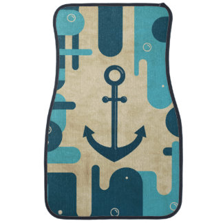 Teal Retro Nautical Anchor Design Car Mat