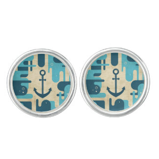 Teal Retro Nautical Anchor Design Cufflinks