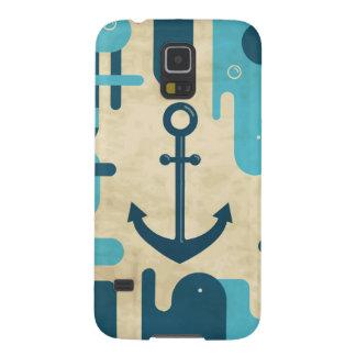 Teal Retro Nautical Anchor Design Galaxy S5 Cover