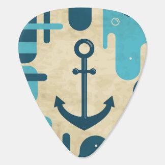 Teal Retro Nautical Anchor Design Guitar Pick